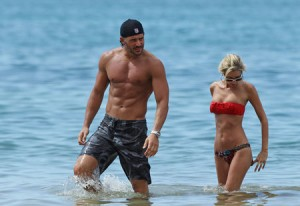 Joe Manganiello and girlfriend on beach